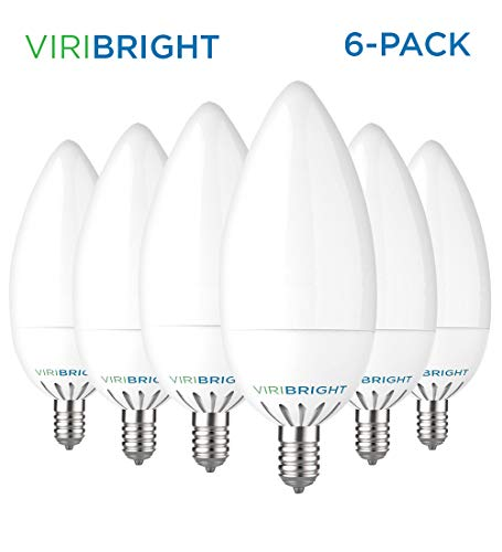 Three Light Candelabra - Viribright E12 LED Candelabra Light Bulbs, 3.2-Watt (Equivalent 25W), 300 Lumens, Daylight 6500K, Candelabra Base, Non-Dimmable, Chandelier Bulb, 6 Pack