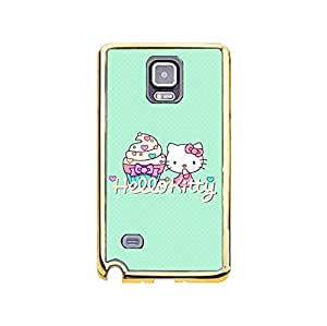 Hello Kitty Phone Case for Samsung Galaxy Note 4,Cute Popular Hello Kitty Series Premium Gold Frame Phone Cover
