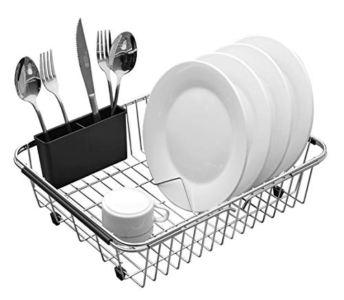 Expandable Dish Drying Rack, 304 Stainless Steel Over Sink Dish Rack, Dish Drainer in Sink or On Counter with Utensil Drying Rack- Rustproof- -