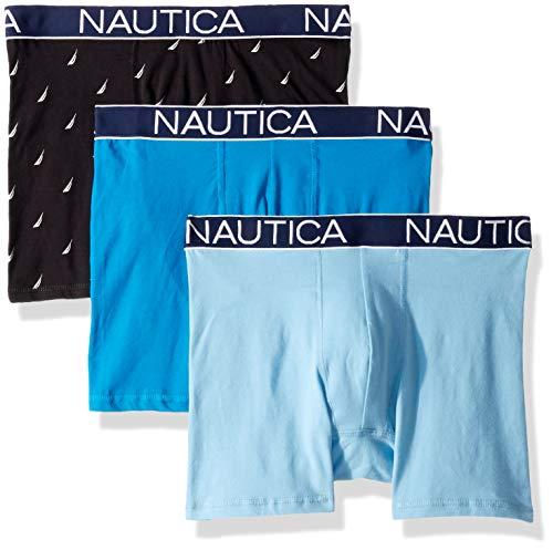 Nautica Men's Cotton Stretch Classic Boxer Brief Multipack, Sail Print Black/Capri Alaskan Blue, Large