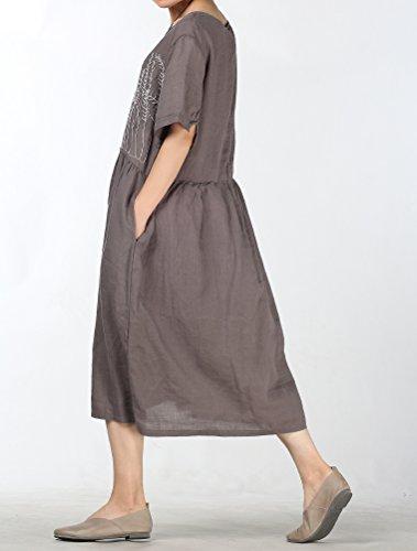 ... Mallimoda Damen Rundhals Kurzarm Langes Leinen Kleid Sommerkleid Grau  q5yN74Pm ... d7031a0d80