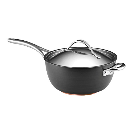 Anolon Nouvelle Copper Hard-Anodized Nonstick 5.5-Quart Saucier with Helper Handle, Dark Gray