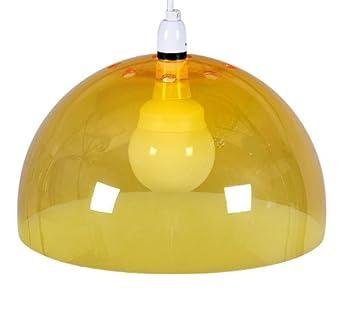 Low energy yellow acrylic dome ceiling pendant light shade bulb low energy yellow acrylic dome ceiling pendant light shade bulb supplied amazon lighting aloadofball Images