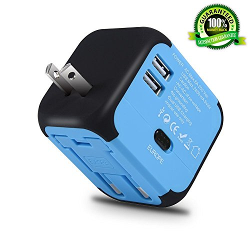 Maxracy Universal International Travel Power Adapter with 2.4A Dual USB Wall Charger, European Adapter, Worldwide AC…