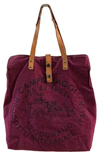 Campomaggi Shopper Large C1262ml Tevl / Vinaccia+st.nera - 2018 - Längere Riemen Neu