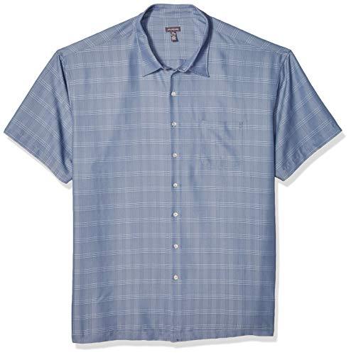 Van Heusen Men's Big and Tall Air Short Sleeve Button Down Poly Rayon Stripe Shirt, Blue Jeans, 3X-Large