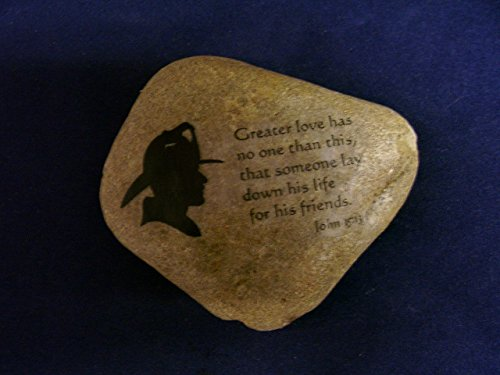 Fireman Fire Fighter unique gift idea Prayer stone John 15:13