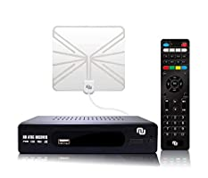 (2019 Version) ATSC HD Digital Converter Box w/ 1080p HDMI Output, 35 Miles Over The Air(OTA) Flat Antenna & Amplifier, Daily/Weekly Scheduled DVR Recorder w. TV Control Learning Buttons (Clear)