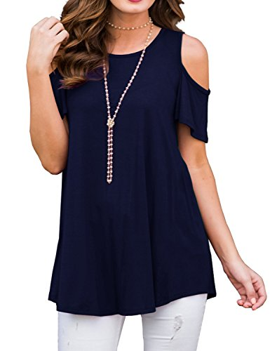 NELIUYA Women's Short Sleeve Casual Cold Shoulder Wide Hem Tunic Tops Loose Blouse Shirts (M Navy Blue) - Blue Blouse Shirt