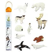 Safari Ltd TOOB ártico con 10 figuras divertidas, que incluyen una foca arpa, husky, caribú, conejo ártico, ballena asesina, morsa, zorro ártico, ballena beluga, ígalo y oso polar, para mayores de 3 años