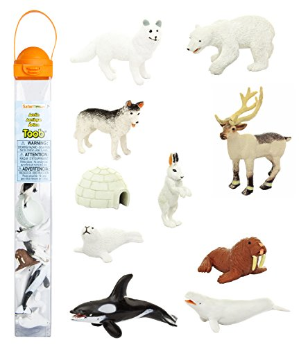 Safari Ltd Arctic TOOB With 10 Fun Figurines, Including A Harp Seal, Husky, Caribou, Arctic Rabbit, Killer Whale, Walrus, Arctic Fox, Beluga Whale, Igloo, And Polar Bear - For Ages 3 and Up