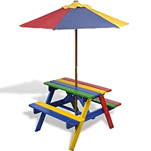 Kids Childrens Picnic Garden Parasol Umbrella Patio Table Bench Chairs Set