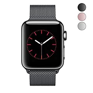 For Apple Watch Band 42mm Durable Milanese Mesh Loop Stainless Steel Replacement iwatch Band with Strong Magnetic Closure for Apple Watch Series 3 Series 2 Series 1 Black