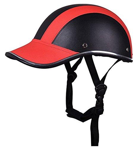 Motocicleta Media Cara Casco Cascos Protectores Equitación Casco Cuero Gorra de Beisbol para Hombres Mujer Chicas 5Colores...