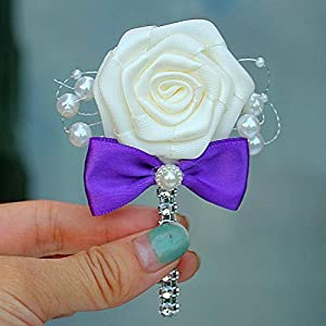 ShineBear 1 Piece Wedding Ribbon Corsage Groomsman Groom Boutonniere Party Prom Man Corsage Handmade Fabric Rose Men Suit Brooch Flower 87