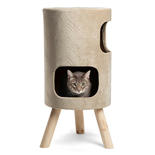 Modern Kitty Handcrafted Cat Tower w/Scratching Surface in Hiro, Wheat,