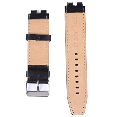XIEMIN® Nuosi Deng Black Leather Watch Band/ Strap Watchbands for Smartwatches Pebble Steel