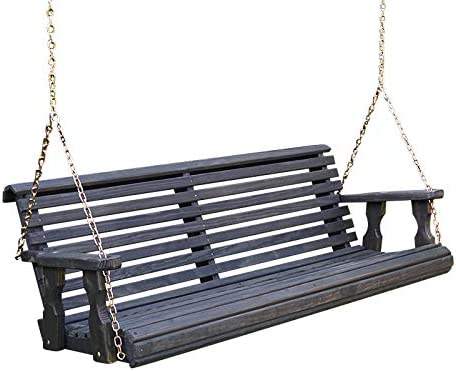 Amish Heavy Duty 800 Lb Roll Back Treated Porch Swing with Hanging Chains 5 Foot, Semi-Solid Black Stain