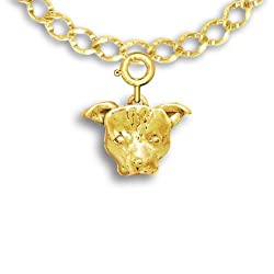 14k Gold Pit Bull Charm for Charm Bracelet by The Magic Zoo