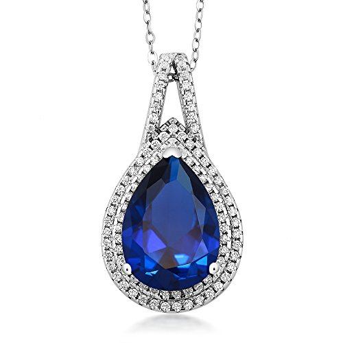 Pear Pendant Necklace - 11.00 Cttw Pear Shape 15X10MM Blue Simulated Sapphire 925 Sterling Silver Pendant 18 Inch Chain