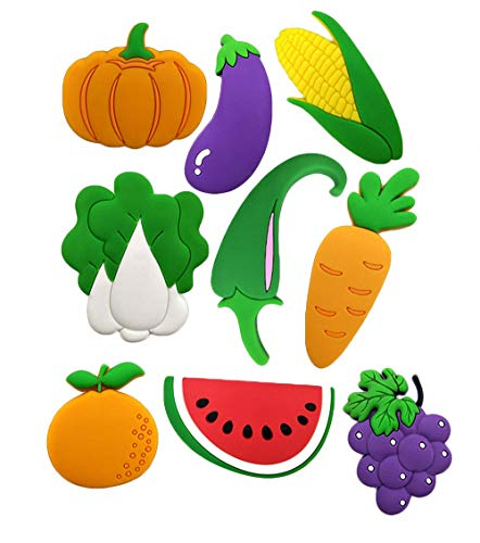 - Cartoon Vegetable Fruit Silicone Refrigerator Magnets Kawaii Decorative Crafts Watermelon Carrot Pumpkin Green Pepper Corn Orange Cabbage Fridge Magnets for Toddlers Kids Babies Girls Boys, Set of 9