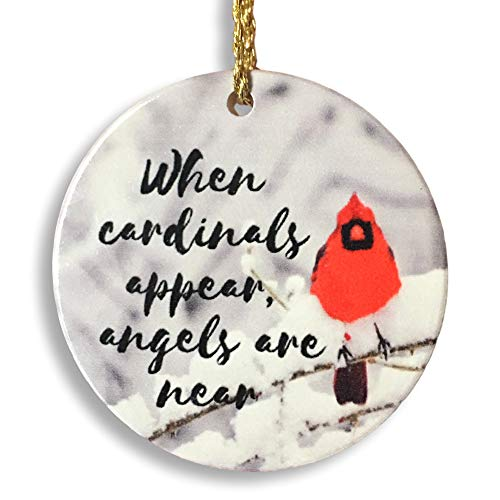 BANBERRY DESIGNS Memorial Cardinal Ornament - When Cardinals Appear, Angels are Near Saying - Winter Cardinal Remembrance Ornament -