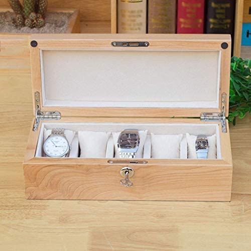 SBSNH 収納ボックス-取り外し可能な蓋付き5ビット木製時計ジュエリーコレクションケースディスプレイボックス