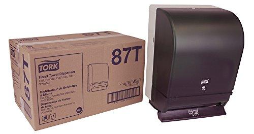 Tork 87T Hand Towel Roll Dispenser, Push Bar, Auto Transfer, Plastic Door w