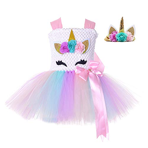 Birthday Unicorn Costume for Kids Girls Party Princess Flower Tutu Dress (Color-1, S)]()