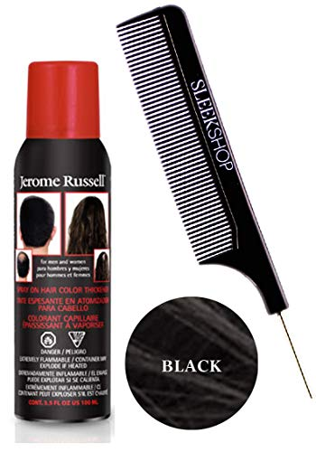Jerome RusselL SPRAY ON HAIR COLOR THICKENER for MEN & WOMEN (w/Sleek Steel Pin Tail Comb) 3.5 oz / 100 g Haircolor Dye for Thinning hair or Hair Loss Hairspray (Black)]()
