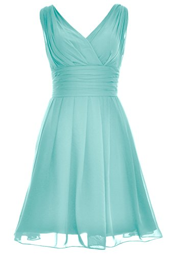 MACloth V Turquoise Gown Short Dress Bridesmaid Formal Neck Wedding Elegant Party w6fqwCnZ