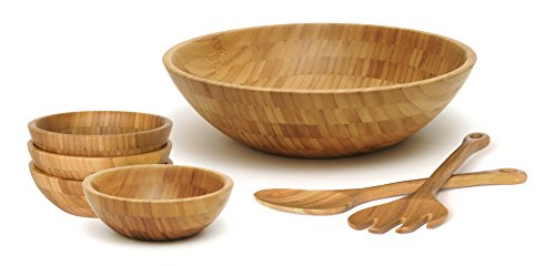 Lipper International 8204-7 Bamboo Wood Salad Bowls with Server Utensils, 7-Piece Set, Assorted -