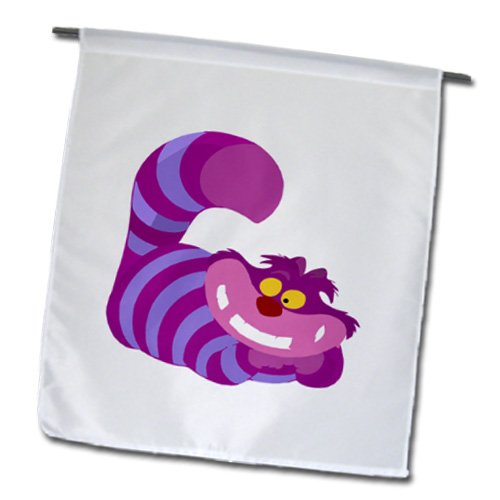 3dRose fl_179594_1 Image of a Large Pink and Purple Cheshire Cat Garden Flag, 12 by 18-Inch