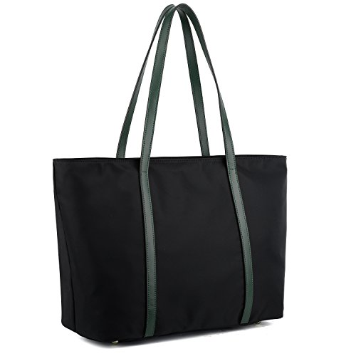 YALUXE Tote for Women Leather Nylon Shoulder Bag Women's Oxford Nylon Large Capacity Work fit 15.6 inch Green