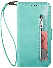 Miagon for Samsung Galaxy A32 5G PU Leather Wallet Phone Case,Premium Zipper Flip Wallet Case Cover with Magnetic Closure Card Slots Wrist Strap