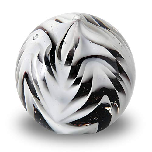 WHW Whole House Worlds Ripple Ball Paperweight, Black and White, Hand Crafted Art Glass Orb, 3 1/4 Inches Diameter Ball, No Roll Flat Bottom (8 D cm)