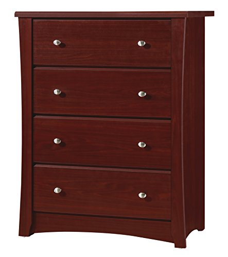 Storkcraft Crescent 4 Drawer Chest, Cherry Kids Bedroom Dresser with 4 Drawers, Wood & Composite Construction, Ideal for Nursery, Toddlers Room, Kids Room