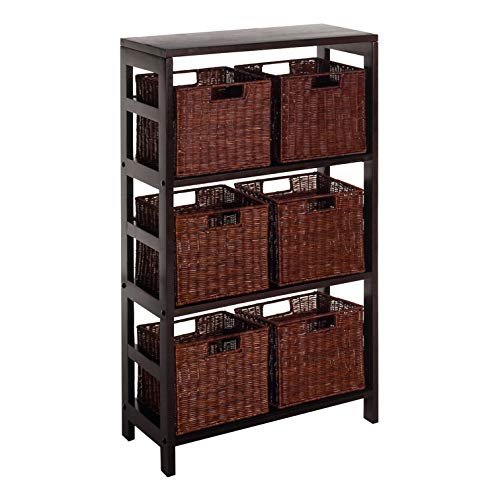 (Winsome Wood Leo Wood 4 Tier Shelf with 6 Rattan Baskets in Espresso Finish)
