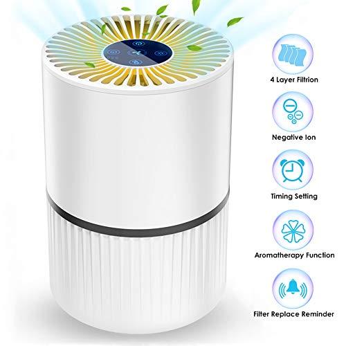 Purificador de Aire 4 en 1 para Hogar Oficina, con Filtro HEPA y Carbon Activado,Generador de Iones /Funcion de Aromaterapia y Temporizador Captura Alergias, Polvo, Humo, Caspa de Mascotas,Olor, PM2.5