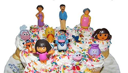 Dora Boots Cake - Nickelodeon Dora The Explorer Deluxe Set of 10 Cake Toppers Cupcake Toppers Party Decorations with Dora, Boots, Tico, Mom, Grandma, Backpack, Swiper and More!