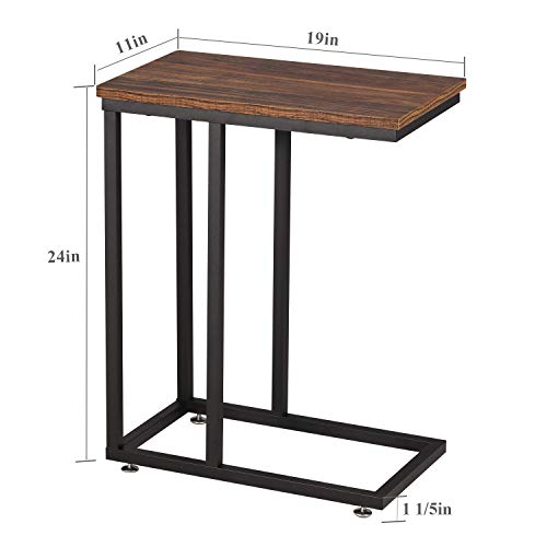 VECELO End C-Table with Sturdy Metal Frame Base for Living, Bed Room, Brown