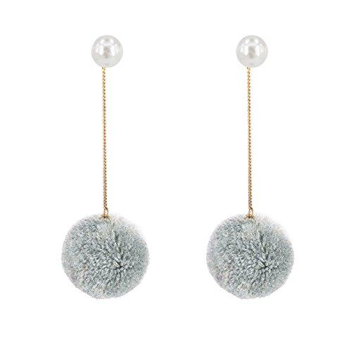 18K Gold Plated Ear Line Threader Round Imitation Pearl With Grey Plush Balls Long Tassel Dangle Earrings