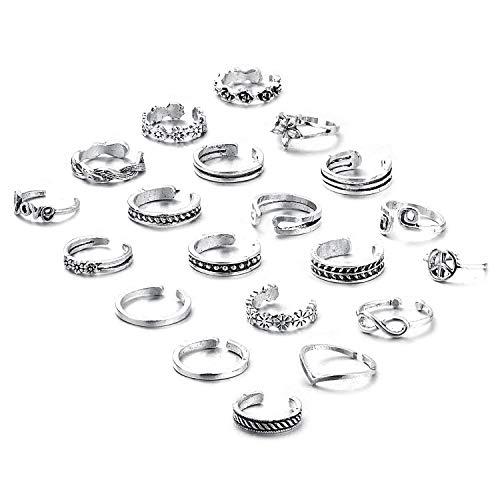 Toe Silver Tone Silver Ring (Finrezio 20 Pcs Toe Rings for Women Teen Girls Adjustable Open Toe Ring Retro Silver Knuckle Ring Finger Jewelry Set)