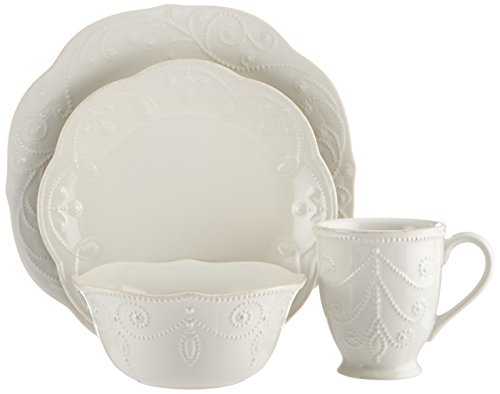 Lenox French Perle 4-Piece Place Setting, White (Sets Settings Place 12 For Dinnerware)