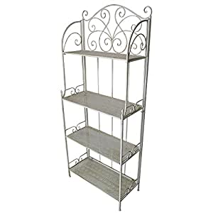 Oakland Living AZ17270-FF-SHELF-AC 4 4 Level Foldable Bakers Rack, Antique Cream
