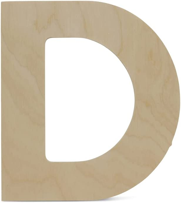 Wooden Letters - D - Unfinished 12 x 10-3/4 Inch Decorative Craft Monogram for Wedding Parties and Home Décor with Tool Free Adhesive Foam Squares for Hanging - by Woodpeckers