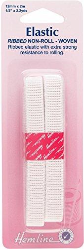 12mm Hemline Non Roll Ribbed Dressmaking Elastic 2m White
