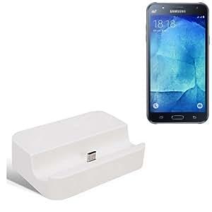 Dock USB Micro adecuado para el Samsung Galaxy J7, blanco | estación de carga incluyendo el cable USB 2.0 cable de datos / cargador, la horquilla del muelle de escritorio cargador universal adecuado para el teléfono móvil para smartphones con conector micro USB, cargador de escritorio del cargador, marca: KS-Comercio (TM). compatible con Samsung Galaxy J7