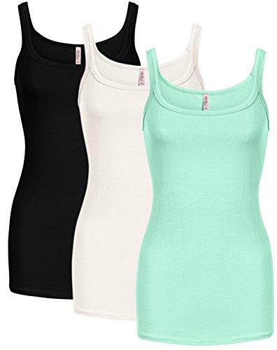 Tank Reg - Simlu Womens Basic reg and Plus Size Tank Tops Soft Camisole - Made In USA 3 PK Black/White/Mint X-Large
