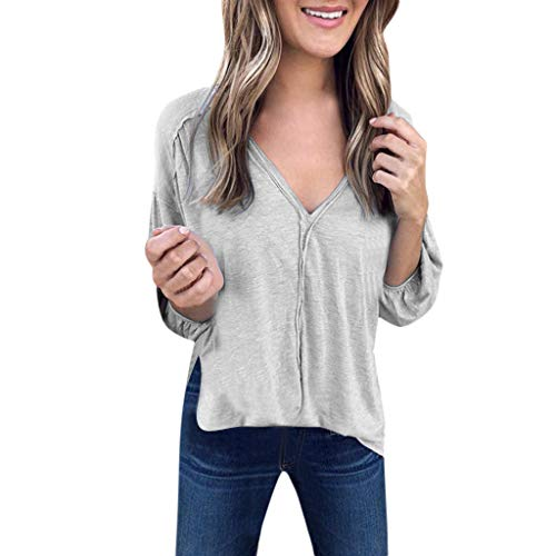 - Women Long Puff Sleeve Shirt V-Neck Casual Ruffled Pullover Top Blouse